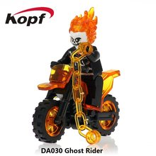 Single Dijual Blok Bangunan Pahlawan Super Ghost Rider dengan Motor Spiderman Flash Mini Boneka Mainan untuk Anak DA030(China)