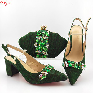 doershow fashion italian green shoes and bag set wholesale women wedding shoes and matching purse for women party!HAS1-48
