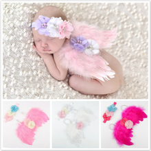 Newborn Photography Props Costume Cute Angel Wings Flower Headband Photo Props Infant Baby Girls Boys Outfit Unisex Accessories