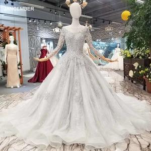 Image 1 - LS701645グレーイブニングドレス2020長袖oネックドバイ母花嫁ドレスクリスタル女性の日のドレス