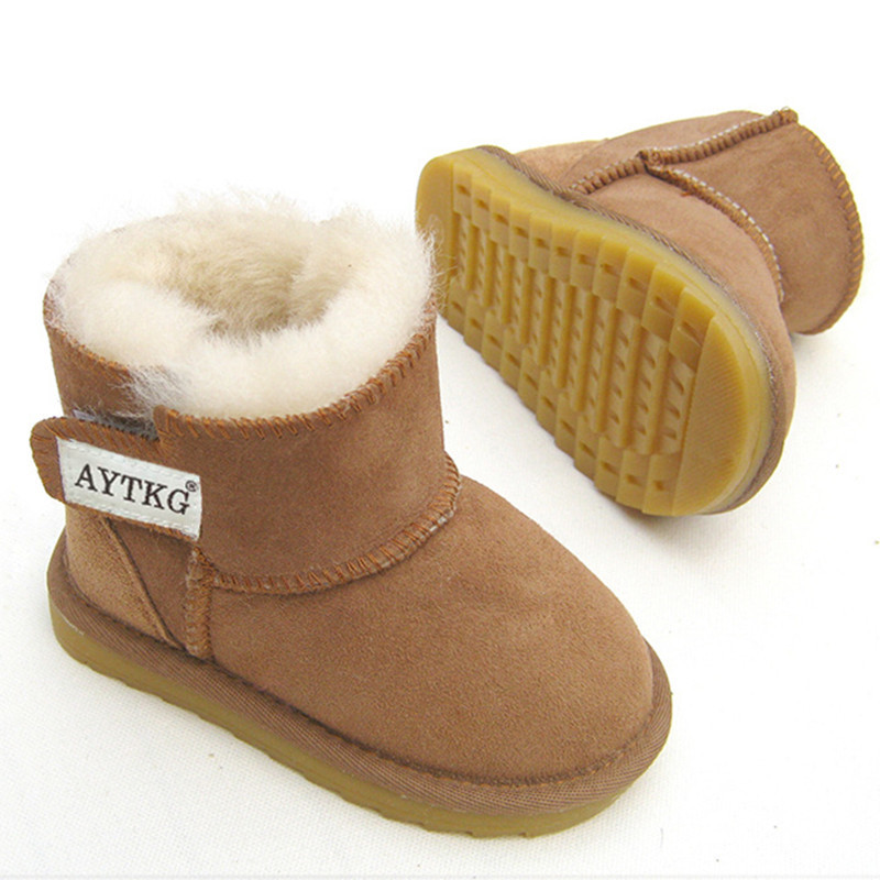 Winter Australia Baby Girls Snow Boots Kids Warm Sheep Skin Leather Fur Botas Waterproof Infant Boot Boys Bootie Shoes Non-slip