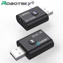 2 en 1 Bluetooth 5.0 récepteur émetteur stéréo sans fil Audio adaptateur USB 3.5mm Jack musique adaptateur pour PC portable casque