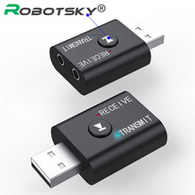 Receptor y adaptador de Audio inalámbrico 2 en 1 con Bluetooth 5,0, Transmisor estéreo, conector USB de 3,5mm, adaptador de música para PC, portátil y auriculares