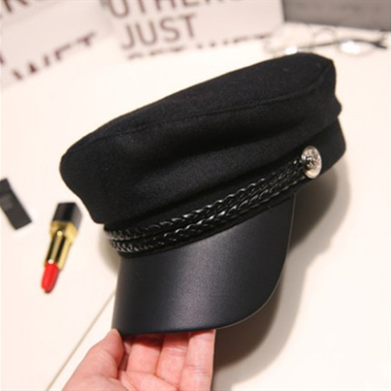 Cool Unisex PU Leather Military Hat Autumn Sailor Hats For Women Men Black Female Travel Cadet Hat Captain Cap Army Flat Top