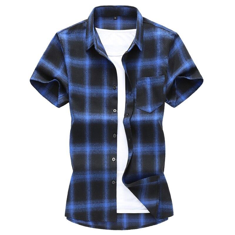 Plus Size 7xl Casual Plaid Shirts For Men 2020 Summer Fashion Short Sleeve Cotton  Camisa Masculina Mens Dress Shirts