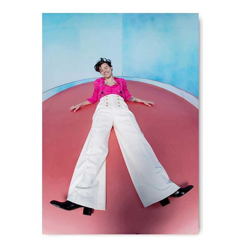 Inggris Penyanyi Harry Gaya Potret Lukisan Poster Dinding Seni Putih Dilapisi Gambar Modern Rumah Kamar Dekorasi