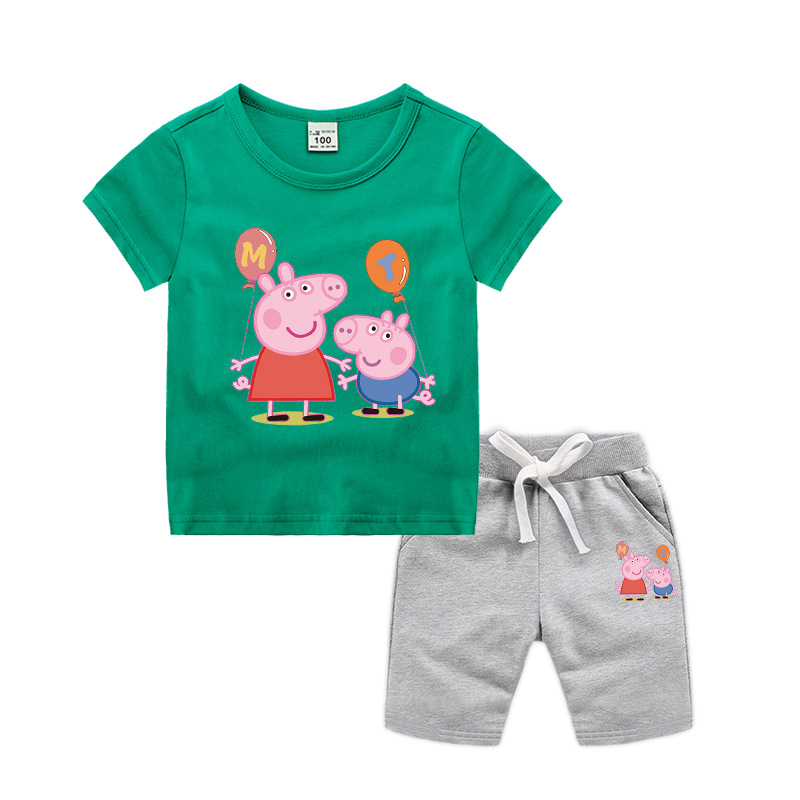 Costume Peppa Pig Boys Clothes Baby Kids Sets Children Chase Rocky Short Sleeve Toy Plus Velvet Sweater Suit Dolls Dropshipping