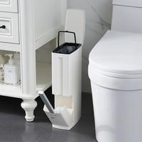 6l estreito plástico lata de lixo conjunto com escova de vaso sanitário banheiro lixo bin lixo latas balde de lixo saco de lixo dispensador Escovas de limpeza     -