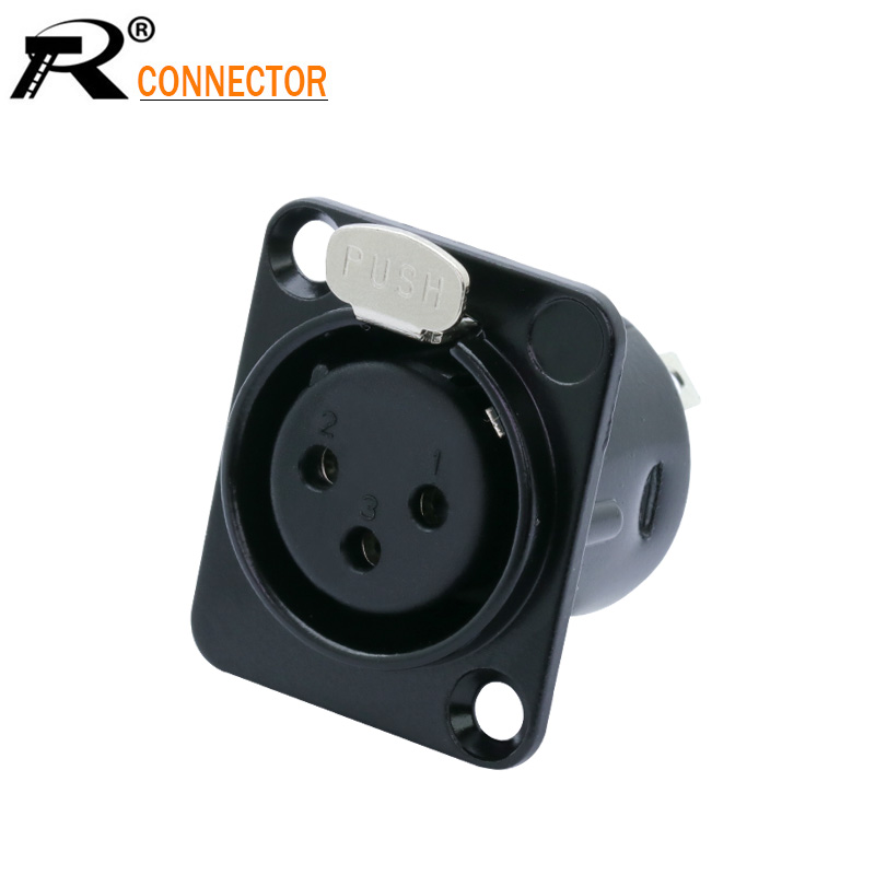 High Quality XLR Connector Black Plated 3pin XLR Female Jack Panel Mount Connector Audio Jack Speaker Plug