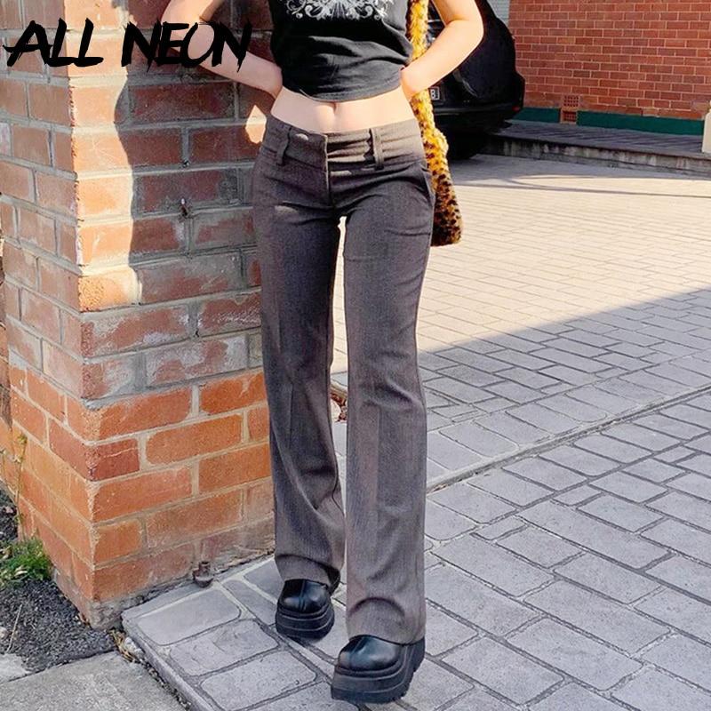 ALLNeon инди-эстетика с низкой талией коричневые брюки Y2K уличная одежда в винтажном стиле; Узкие брюки-клеш в стиле 90-х) комплект модной одежды ...