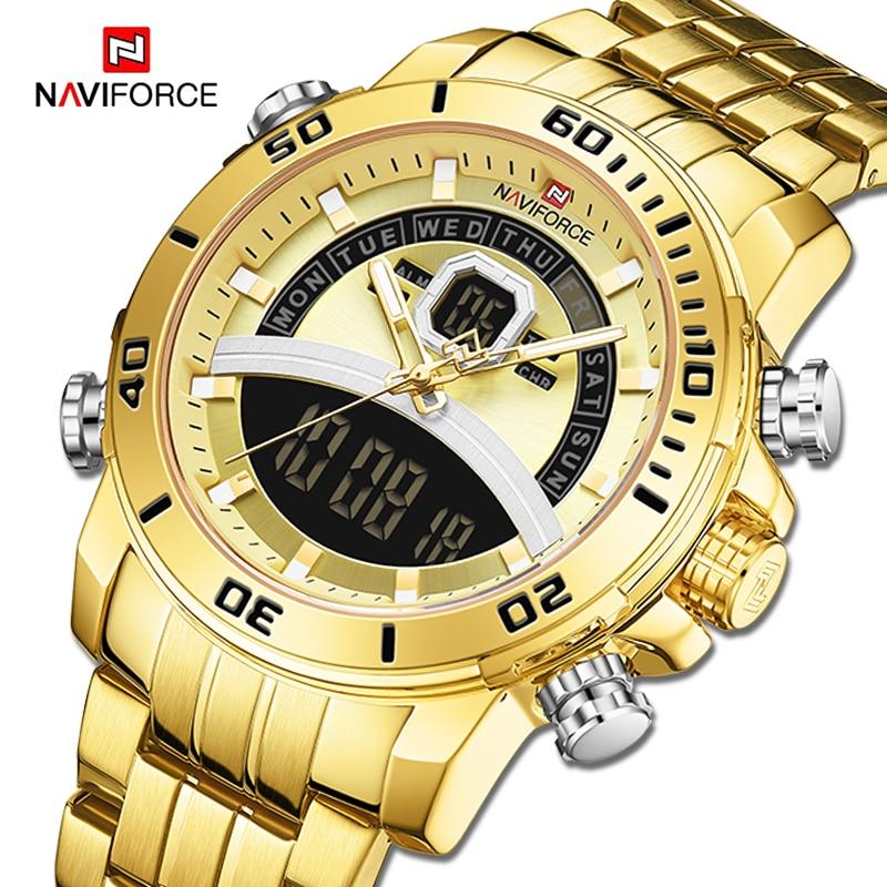 New NAVIFORCE Men Watch Top Luxury Brand Mens Sports Quartz Watches Chronograph Male Clock Stainless Steel Relogio Masculino|Quartz Watches| - AliExpress