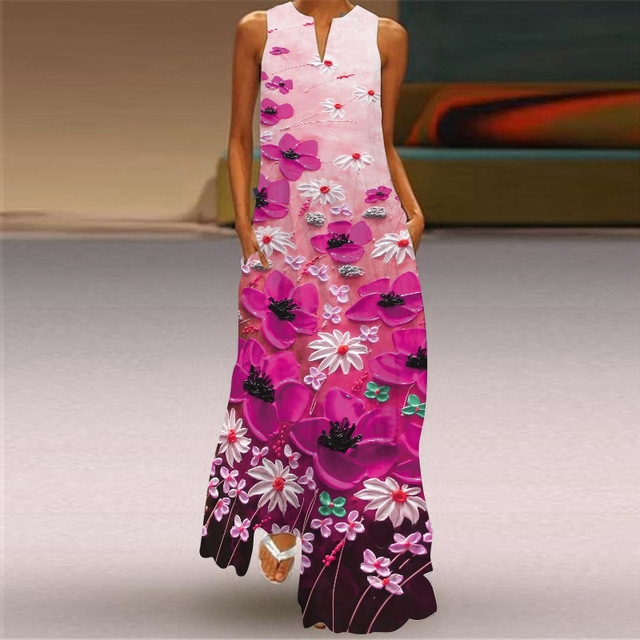 2021 new summer women's dress cotton sleeveless long printed V-neck dresses seaside style Sexy casual loose plus size 5XL dress 4
