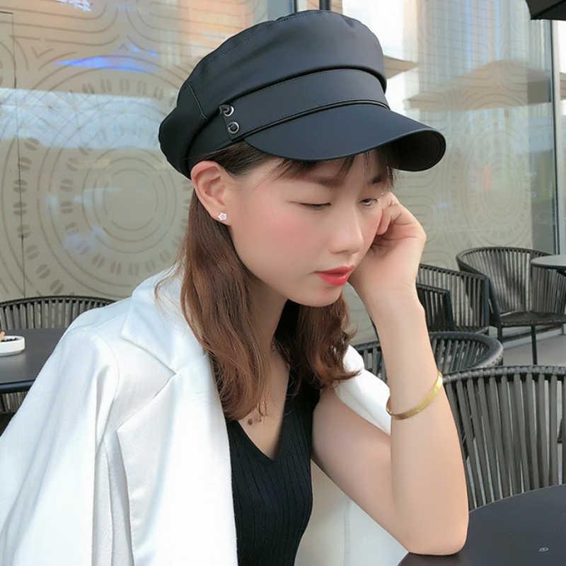 Hat Flat Top Hats For Women Black Female Cap G1Y2