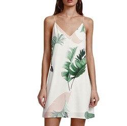 2018 AliExpress EBay новые продукты Amazon Горячая продажа лист печатных v-образным вырезом камзол Короткое платье женские в настоящее время доступны