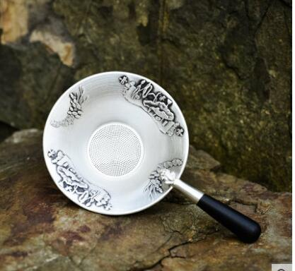 Sterling silver handmade tea leak Silver tea leaking net tea filter household gift Kung Fu tea set
