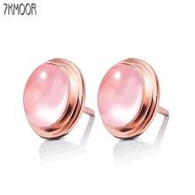 Boucles d'oreilles rondes en argent Sterling 100% pour femmes, bijoux Anti-allergie, opale rose naturelle, pierre précieuse pour dames, 925