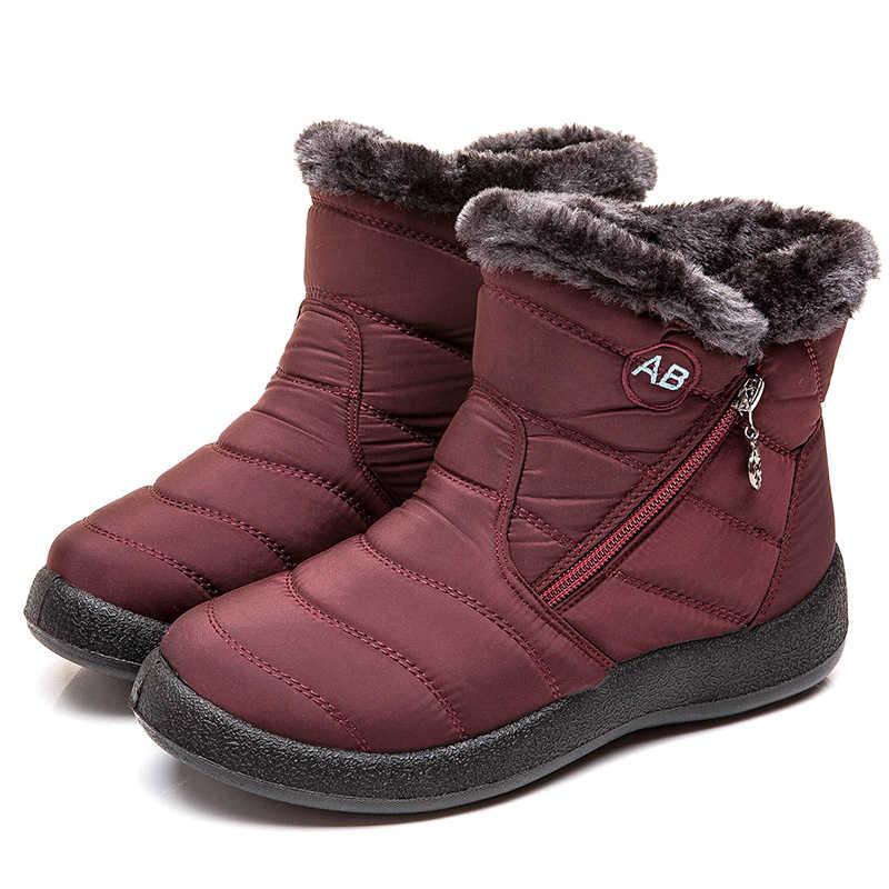 รองเท้าผู้หญิง 2019 ฤดูหนาวรองเท้า Quilted ข้อเท้า Botas Mujer รองเท้าบู๊ตหิมะกันน้ำอุ่นฤดูหนาวรองเท้าผู้หญิง Botines PLUS ขนาด 43