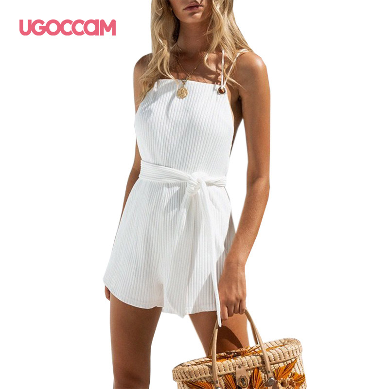UGOCCAM Short Pants Jumpsuit One Piece Set White Playsuits Beach Casual Rompers Sexy Sleeveless Overalls Loose Lace Up Jumpsuit