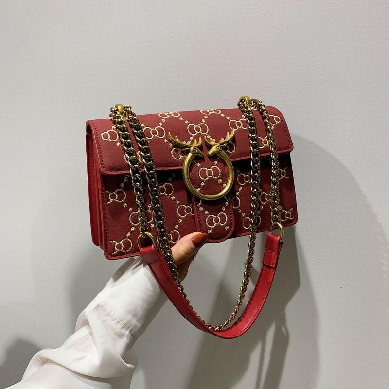 Scrub Leather Chain Crossbody Bags For Women 2019 Winter Shoulder Messenger Bag Female Travel Cell Phone Purses Handbags