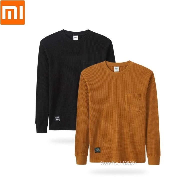 Xiaomi MITOWNLIFE Man Cotton T-shirt Simple Casual Knitted Soft Breathable Spring Autumn Long Sleeve Bottoming  Sweatshirt