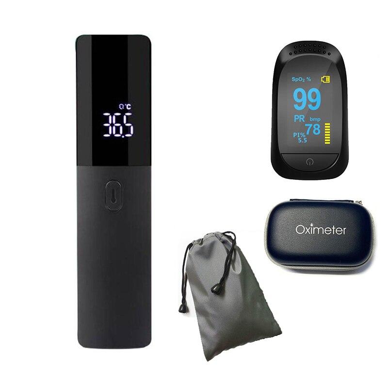 Пульсоксиметр на кончик пальца, портативный цифровой измеритель насыщения крови кислородом, SPO2, с термометром