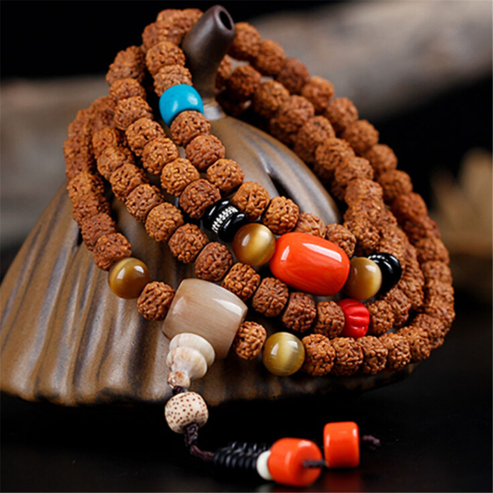 New Handmade Buddhist Natural 5 Petals Small Jingang Bodhi 108 Mala Beads Prayer Hand String Lovers' Tibetan Rudraksha Bracelet