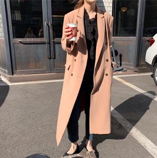 new Women Autumn coat Double Breasted Long   Trench   Coat Female Pocket Straight Shirt Windbreaker Manteau Femme Hiver Overcoat