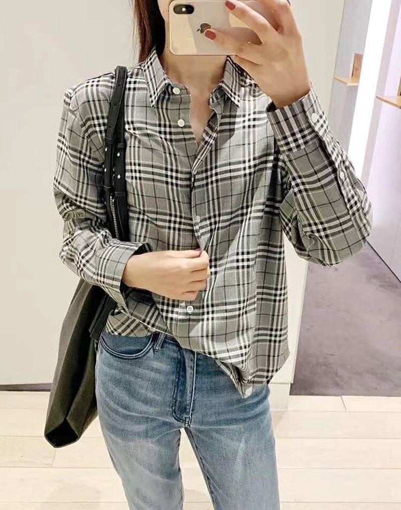 Autumn Women's Shirt Turndown Collar Plaid Blouse ladies Casual Loose office shirts with Buttons Top