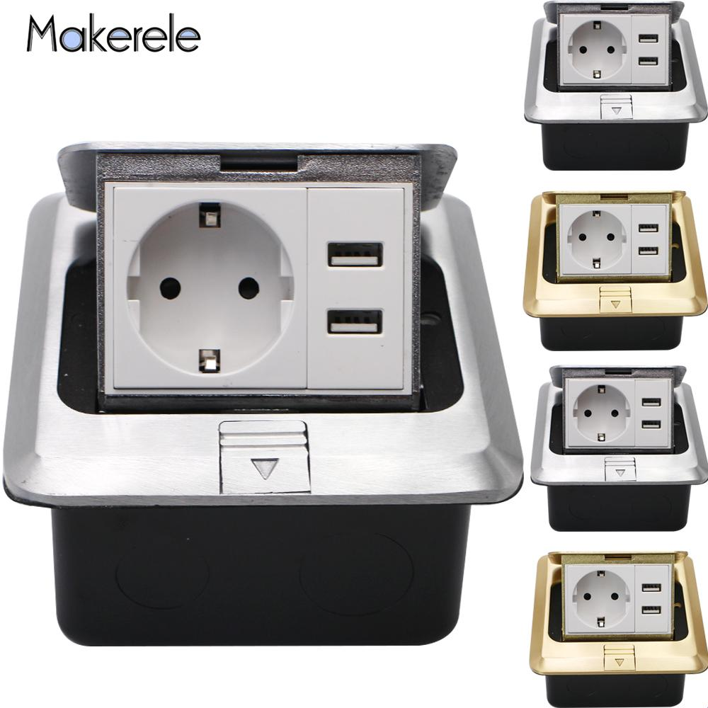 16A 110~250V EU Quick / Slow Pop Up Floor Socket Aluminumy Copper Floor Socket Box With 2.1A USB 2 Way Electrical Switches