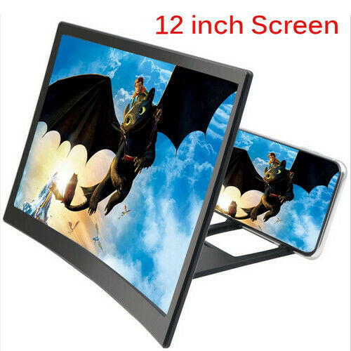 "12"" 3D Movie Curved Screen Enlarge Magnifier HD Projector Holder For Cell Phone"