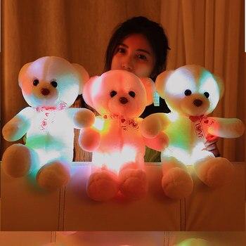 35 CM/45 CM colorido brillante luminoso peluche bebé juguetes iluminación oso de peluche encantadores regalos para niños las niñas