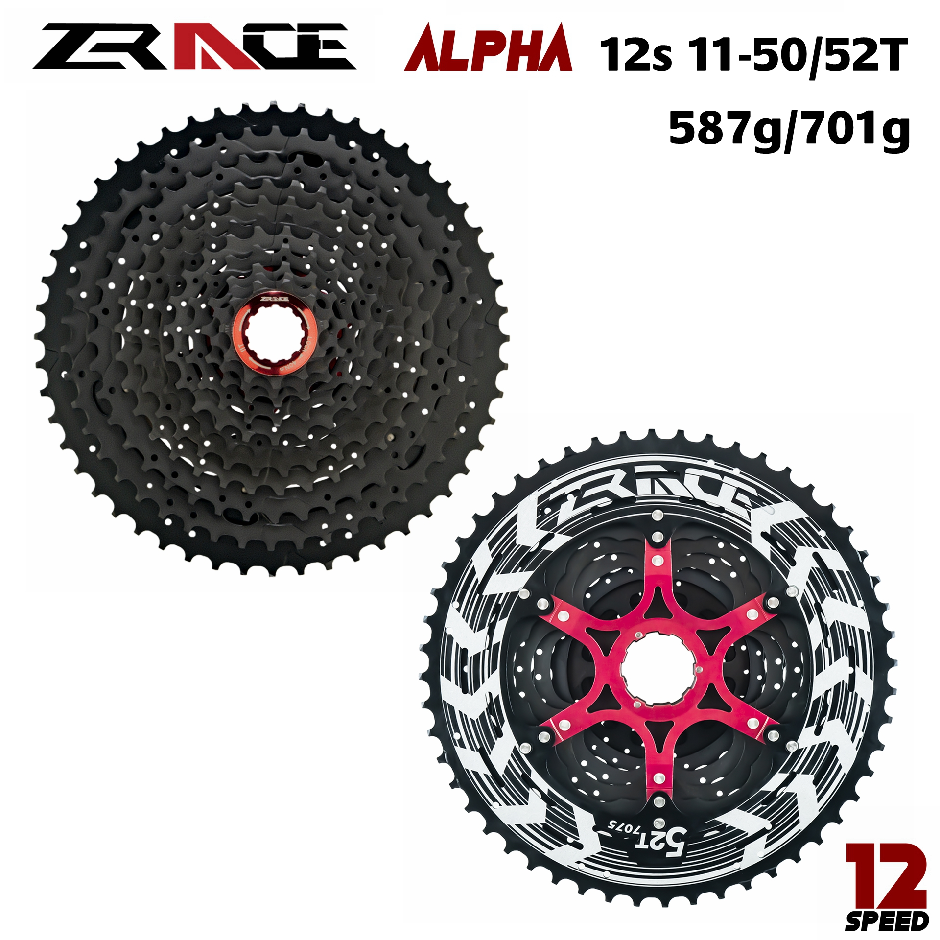 ZRACE Alpha 12s Lightweight Cassette 12 <font><b>Speed</b></font> MTB bike freewheel 11-50T / 11-52T - Black,compatible M9100 / XX1 X01 GX NX Eagle image