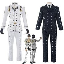 Anime JoJo's Bizarre Adventure Bruno Bucciarati Cosplay Costume Black White Suits Uniform Zentai Full Set
