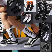 1 Pair High Quality Black White Cotton Hip Hop On Fire Skateboard Maple Leaf Letters Crew Blaze Street Men Socks Popular Male(China)