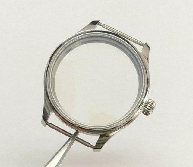 Parnis caja de reloj de acero inoxidable, 44MM, 316L, compatible con cuerda a mano mecánica 6497/6498, movimiento 02