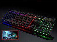 Teclado do jogo com fio teclados de computador colorido led retroiluminado 104 teclas ergonomia usb teclado gamer para jogos de computador portátil f2
