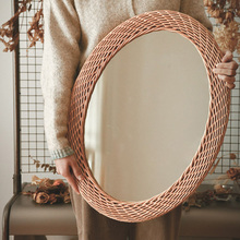 Bed & Breakfast Pastoral Style Rattan Decoration Dressing Mirror Wall-Mounted Wall Sticking Wall-Mounted Oval Glass Mirror