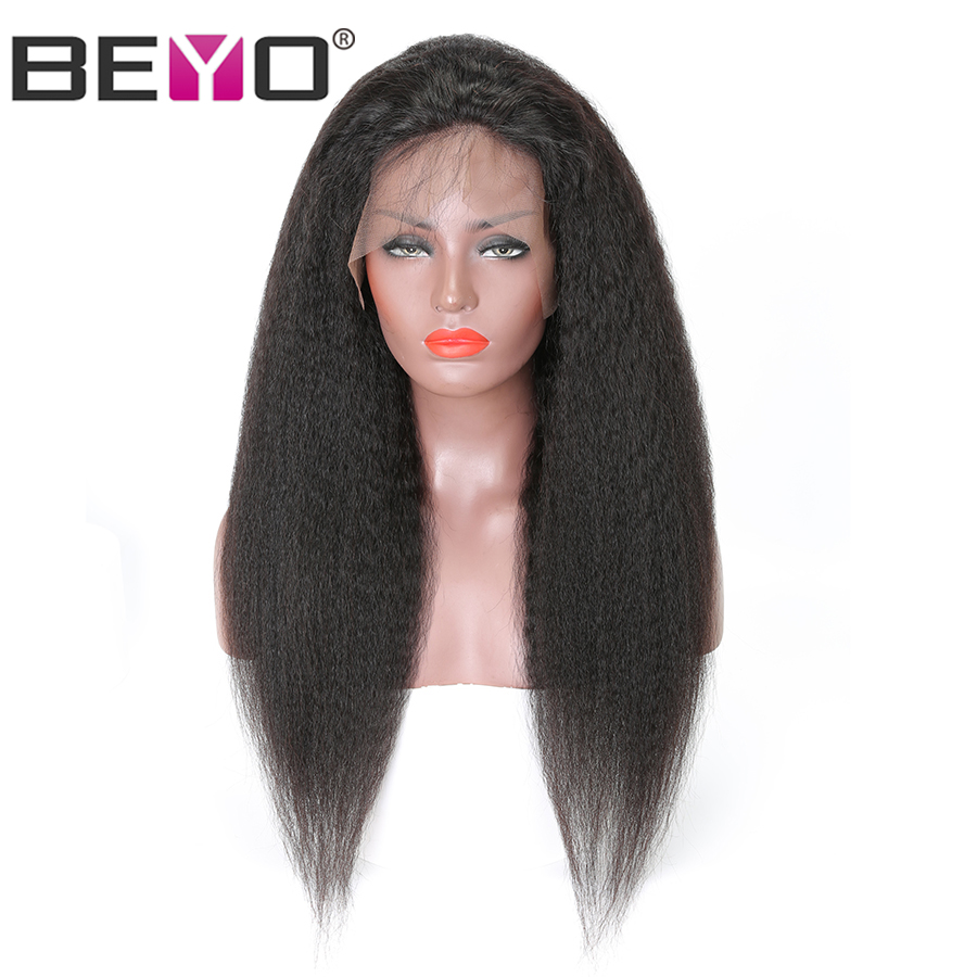 T Part Lace Front Human Hair Wigs For Women Black Pre Plucked Brazilian Kinky Straight Lace Deep Part Wig Beyo Remy Hair Wigs