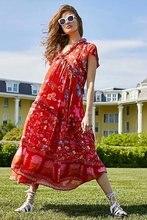 Red Print Flower Bohemian Dress ZA Long V-neck Casual Seaside Resort Women Dresses