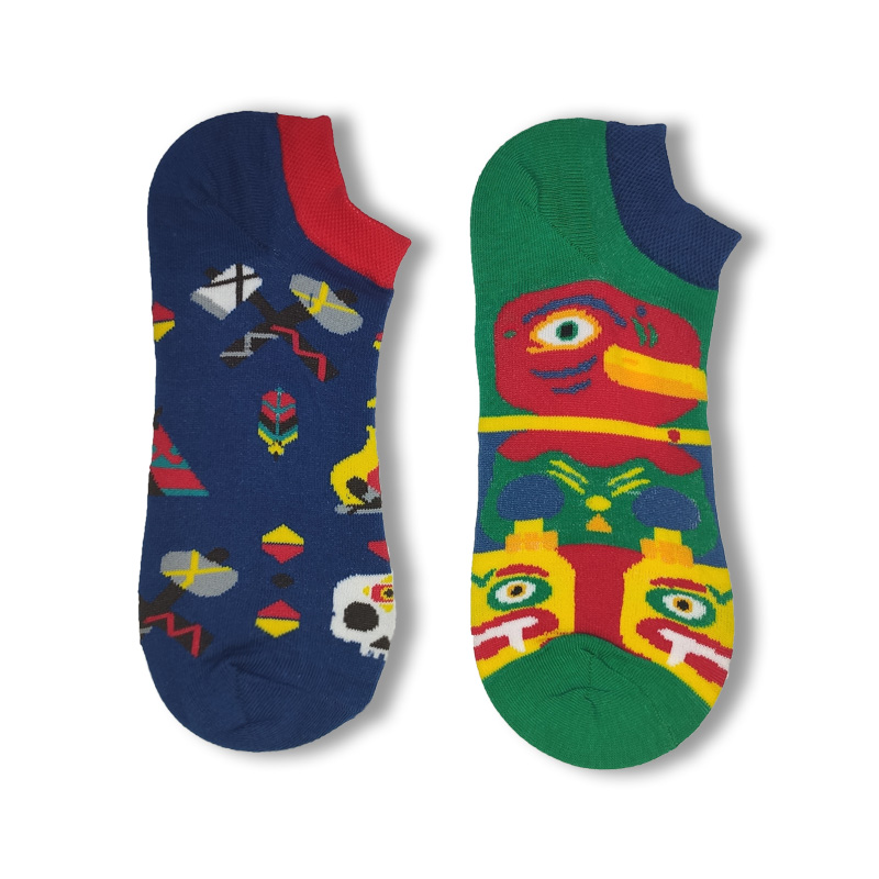 Socks Men And Women AB-No-show Shallow Mouth Couples Sports Short Socks Cotton Cool Korean-style College Style Cartoon Creative