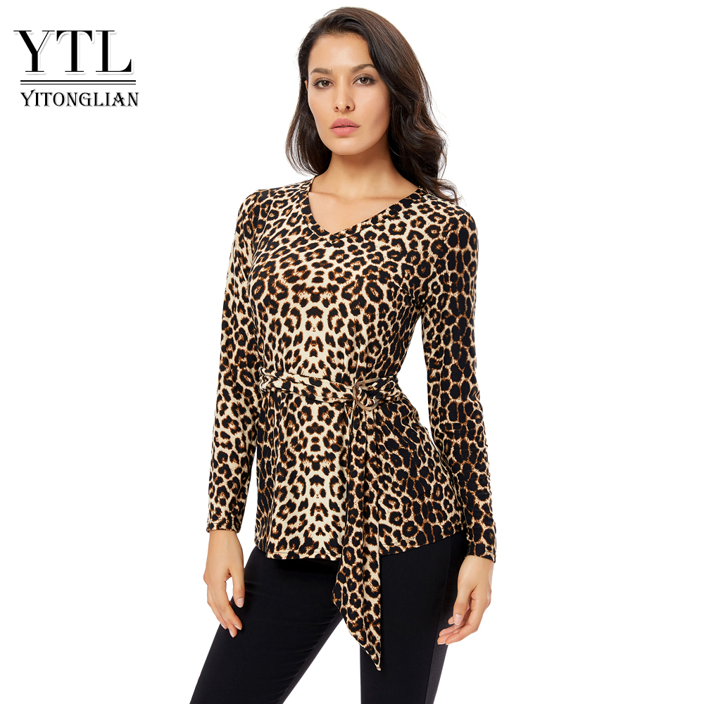 YTL Plus Size Blouses For Women Leopard Sexy V Neck Long Sleeve Animals Pattern  Slim Tunic Top With Belt Blouses Shirts  H298