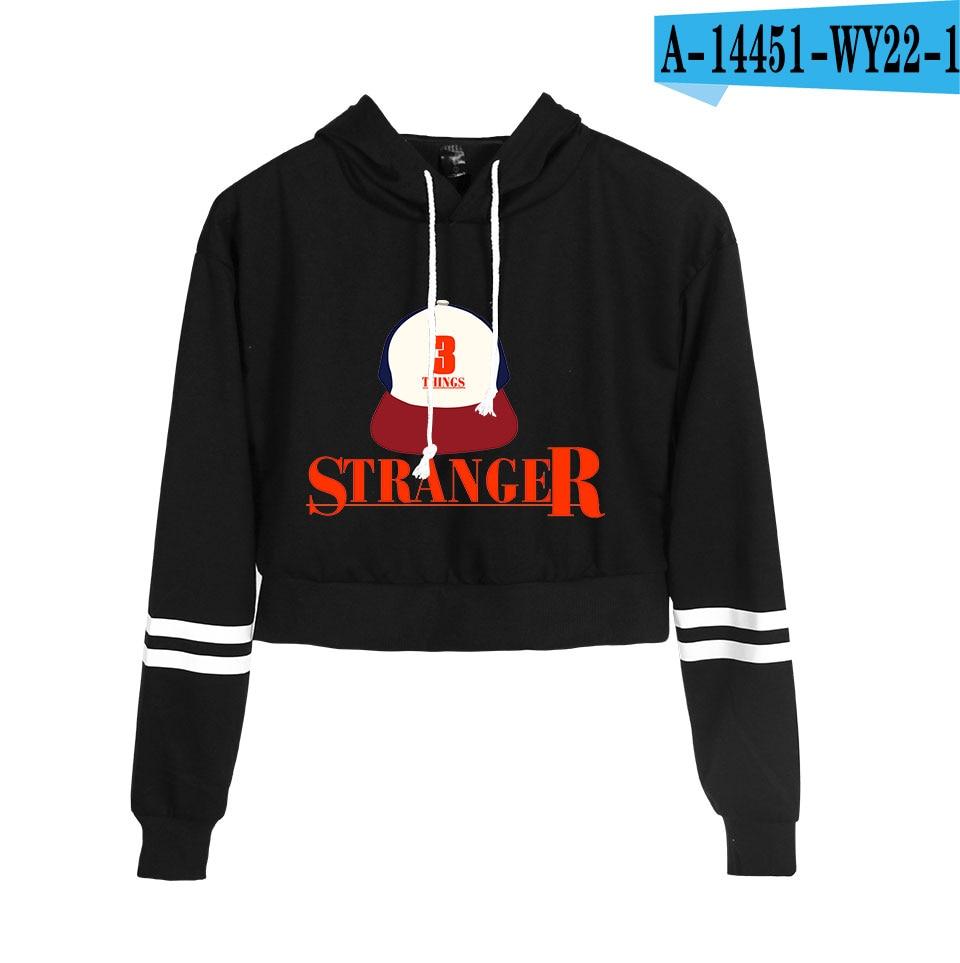 Hot Stranger Things Hoodie Women Spring Autumn High Waist Black Short Sweatshirt Ladies Hoodies Casual Kawaii Crop Top