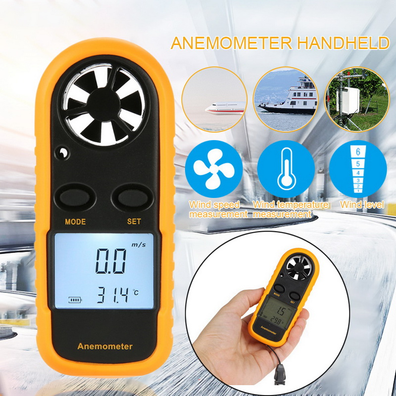 Handheld LCD Mini Digital Anemometer Wind Speed Meter Wind Speed Gauge Meter 0 - 30 M/s Sensor Tester With Backlight Display
