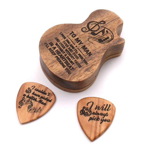 3 Pcs/set Handmade Wooden Guitar Pick Box and Picks Paddles for Guitarist Music Lovers Gifts durable delicate surface