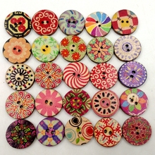 100 Pieces Assorted  Round Wooden Buttons 2 Holes Buttons for Sewing and Crafts 20mm