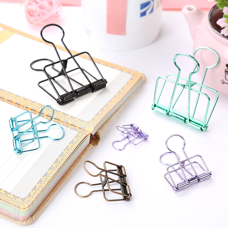 Fashion Small Mini Colorful Hollow Metal Clip Folder Book Notes Binding Clip Long Clip Ins Student Stationery School Supplies