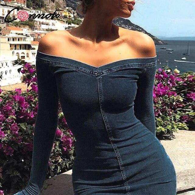 Conmoto סקסי כבוי כתף ג ינס שמלת נשים 2019 חורף ארוך שרוולים מזדמן קצר רזה מיני שמלת Bodycon Vestidos