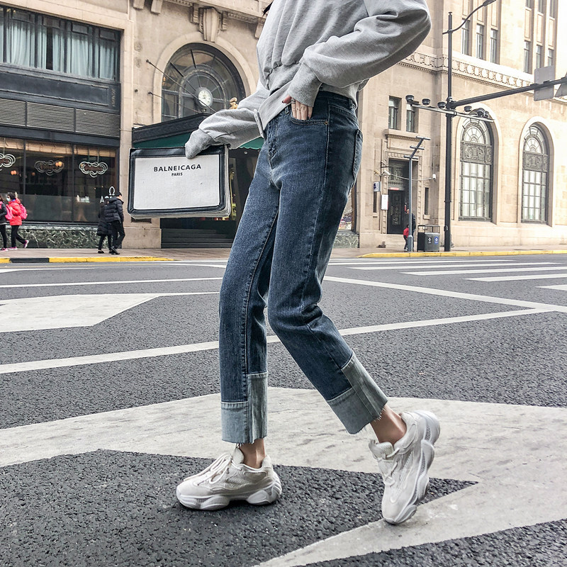 2019 Autumn Clothing Large GIRL'S Large Size Jeans Women's Loose-Fit 200 Of Fat Mm Capri Pants A Generation Of Fat
