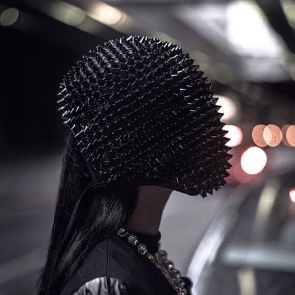 Masque de danse en boîte de nuit, casque de hérisson, barre en épine, barre de DJ, masque de danse, Rivet