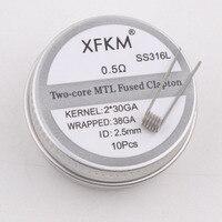 Bobinas prefabricadas para cable de calefacción modelo XFKM 10 unids/caja NI80/A1/SS316L MTL Clapton para MTL RDA RTA RBA Mod